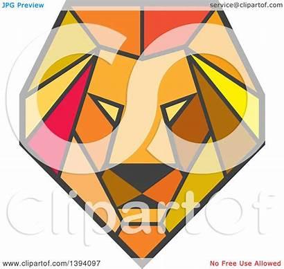 Lion Geometric Clipart Polygon Head Illustration Low