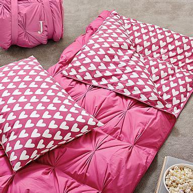 pintuck girls sleeping bag pink magenta sweethearts