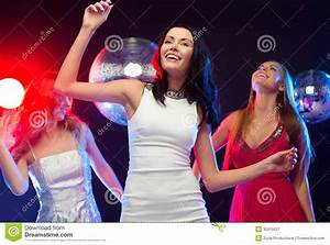 Three Smiling Women Dancing In The Club Royalty Free Stock ...