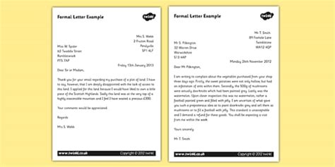 formal letter examples ks formal writing  texts