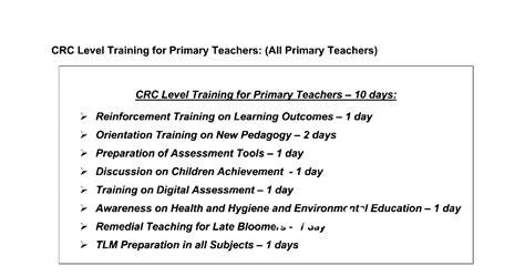 tnppgtacom crc level trainings schedule primary teachers