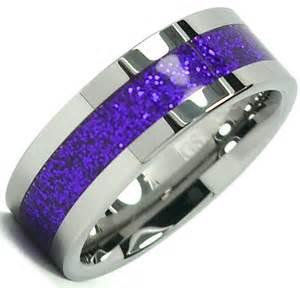 Purple Tungsten Carbide Wedding Bands