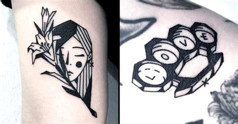 greem edgy simplistic blackwork tattoos tattoodo