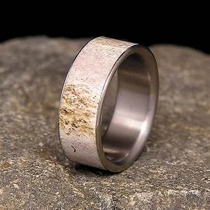 deer antler titanium wedding band or ring With antler wedding rings