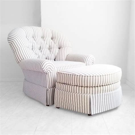 gray white pencil striped tufted overstuffed arm chair w