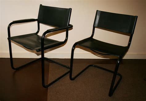 bauhaus leather and tubular steel chairs set of 8 for