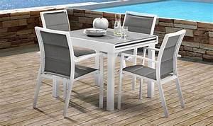 Table De Jardin Grise : table de jardin carre avec plateau imitation pierre 4 8 ~ Dailycaller-alerts.com Idées de Décoration