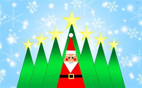 santa claus and christmas trees wallpaper holiday