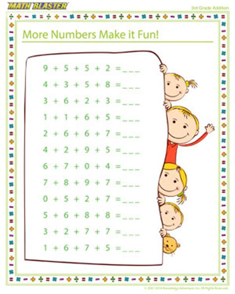 more numbers make it addition printable for 4th