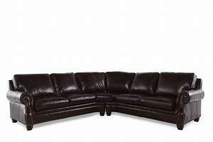 henredon two piece leather sectional mathis brothers With sectional sofa mathis brothers