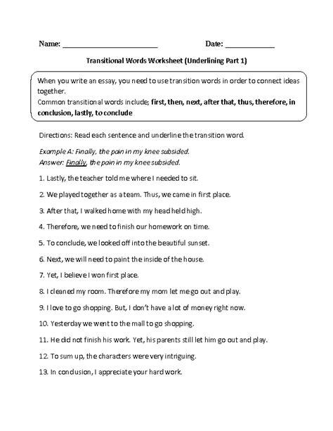 transition words worksheet for 2nd grade 20 best images of transition words worksheet pdf