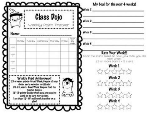 class dojo weekly behavior tracker class dojo freebie