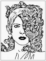 Coloring Pages Faces Adults Realistic Printable Adult Face Half Blank Fantastic Drawing Knockout Woman Getcolorings sketch template