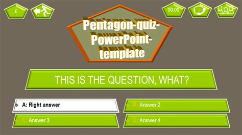 powerpoint quiz template pentagon  themes