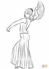 Coloring Spanish Pages Flamenco Dancing Woman Printable sketch template