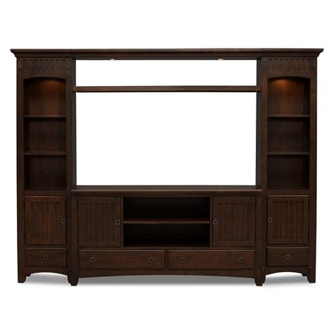 arts crafts  piece entertainment wall unit chocolate
