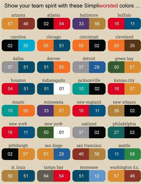 college football colors nfl football team color chart so find your city name