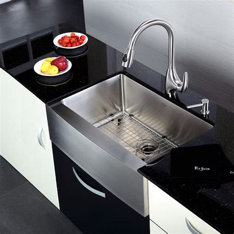 kitchen sink and faucet combo kraus khf200 30 kpf2170 sd20 30 inch farmhouse sink and