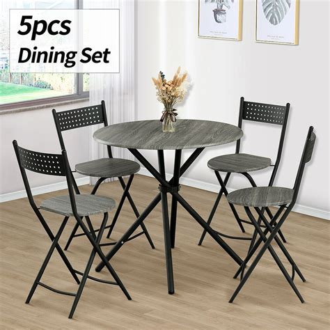 piece wood dining table set  chairs kitchen dinette