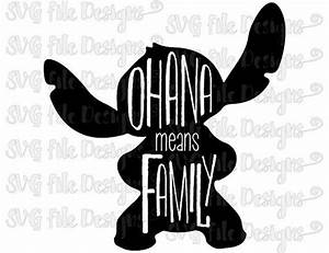 Ohana Means Family Lilo and Stitch Word Art Silhouette