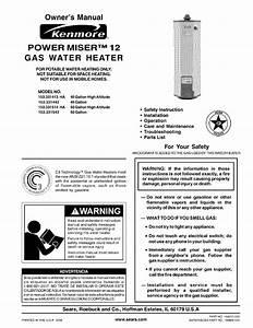Kenmore Water Heater 153 331543 User Guide