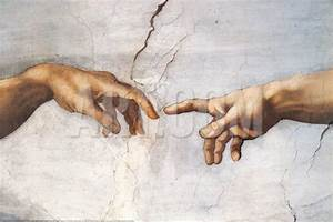 Creation of Adam Detail Hands Art Print by Michelangelo ...