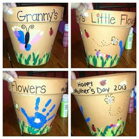 handprint  footprint flower pots mothers day diy