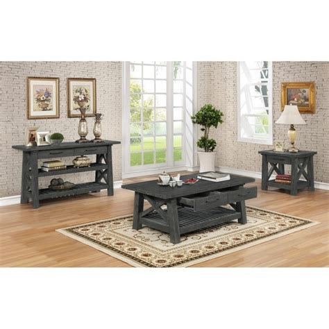 Weathered gray coffee table with shelf coffee tables reclaimed, source: Shop Best Quality Furniture 4-Piece Grey Rustic Coffee Table, 2 End Tables, and Console Table ...