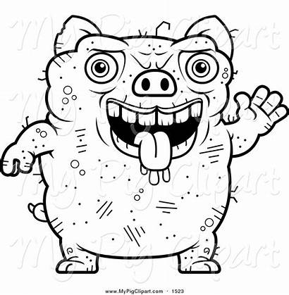 Ugly Pig Clipart Lineart Face Waving Drawing