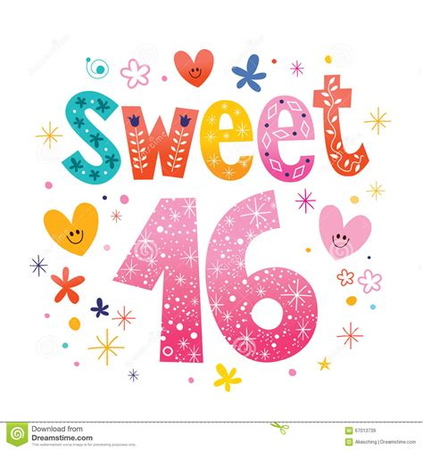Sweet Sixteen Text Decorative Unique Typography Lettering ...