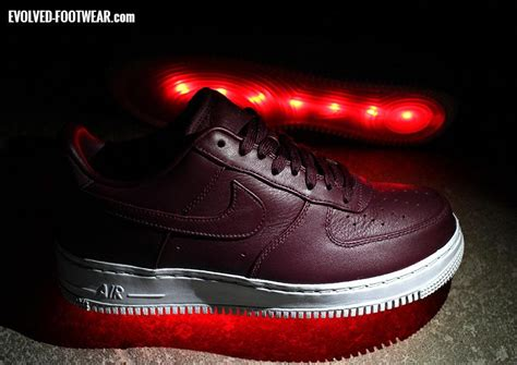 light up air ones working on a burgundy pair of nike lab air 1s with