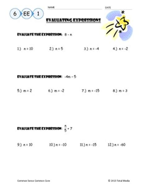 Evaluating Algebraic Expressions Worksheet By April Langelett Tpt