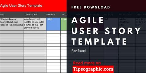 agile user story template  excel   agile