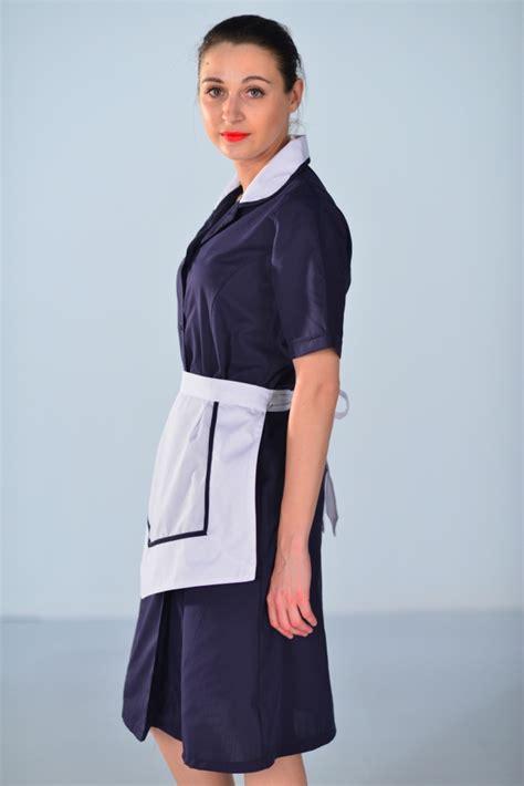 tablier femme de chambre blouse femme de chambre à manches courtes bleu nuit carlton