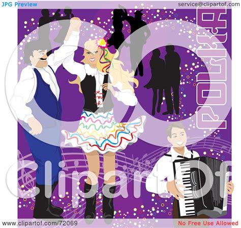 royalty  rf clipart illustration  couples dancing  polka    accordian man