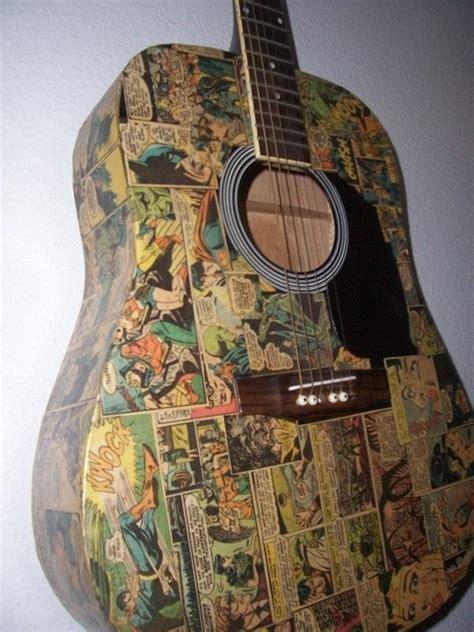 decoupaged comic strip guitar  guitar decoupage