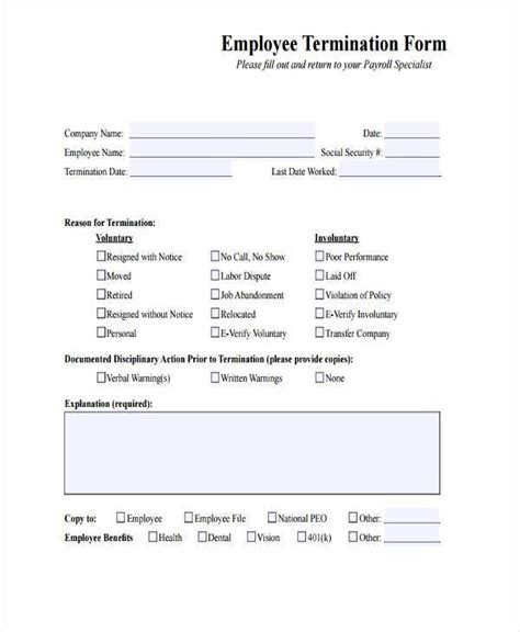 employment termination agreement form sample letter