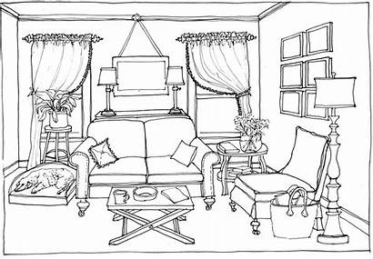 Drawing Clipart Perspective Coloring Bedroom Point Living