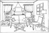 Bedroom Drawing Interior Clipart Sketches Perspective Coloring Sofa Point Furniture Space Colouring Modern Things Outline Sheets Fun Layout Retro Coloringpagesfortoddlers sketch template