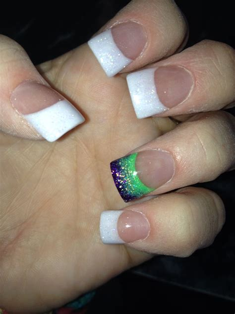 french manicure  purple  lime green accent nail