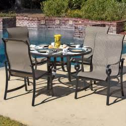 la salle 5 piece sling patio dining set with glass table