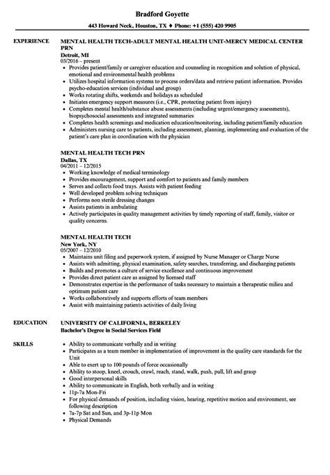 mental health tech resume sles velvet