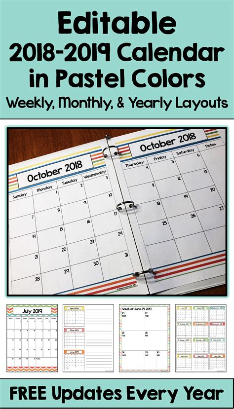 editable calendar pastel colors differentiated math