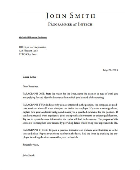 latex cover letter templates  sample