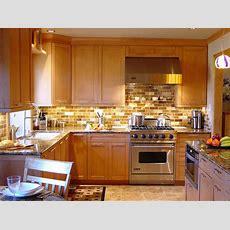 Transitional Kitchen With Brown Tile Backsplash  Hgtv