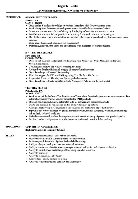 test developer resume samples velvet jobs