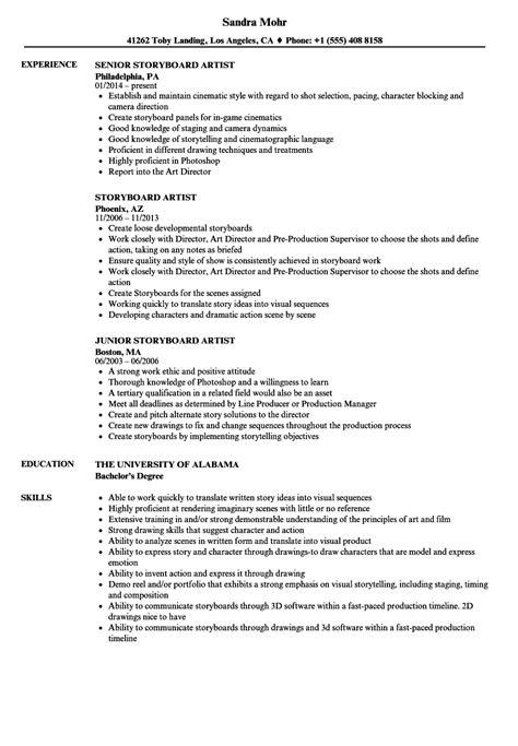 Drafting Resume by Storyboard Artist Resume Sles Velvet