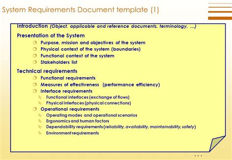 technical requirements document template technical requirements definition process ppt
