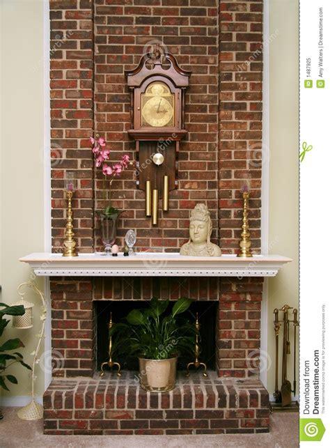 stylish brick fireplace royalty  stock photo image