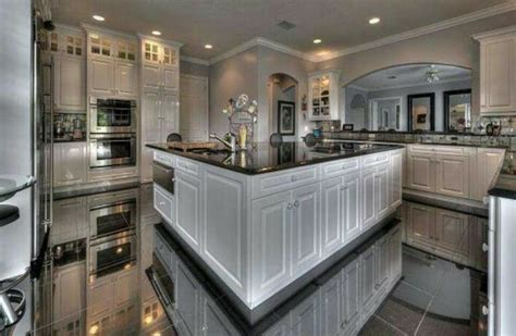 Kitchen♢white Cabinets♢marble Floors  Beautiful Spaces